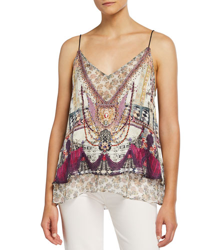 Printed Spaghetti-Strap Top with Sheer Underlay