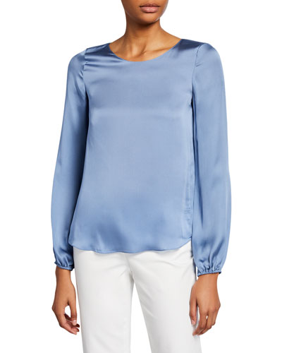 Scoop-Neck Blouson-Sleeve Silk Shirt