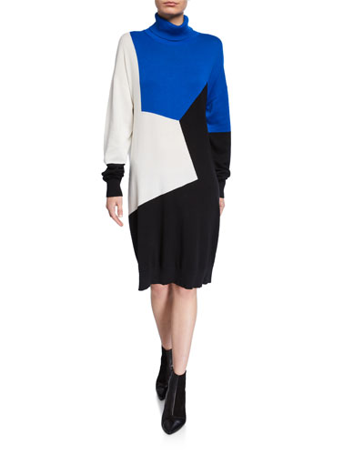 Colorblock Turtleneck Cotton Sweaterdress