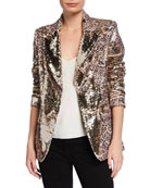 Berek Plus Size Sequin Leopard-Print Two-Button Blazer