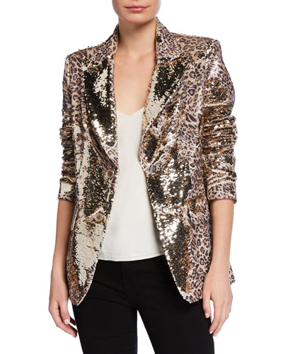 Plus Size Sequin Leopard-Print Two-Button Blazer