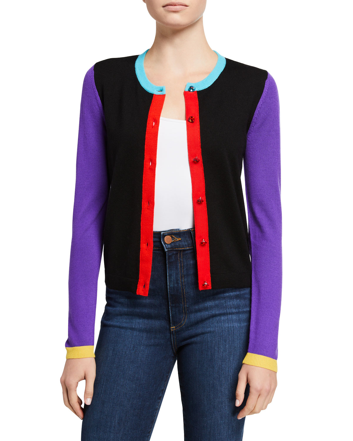 Ruthy Colorblocked Button-Front Cardigan