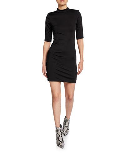 Inka Mock-Neck Elbow-Sleeve Strong-Shoulder Mini Dress