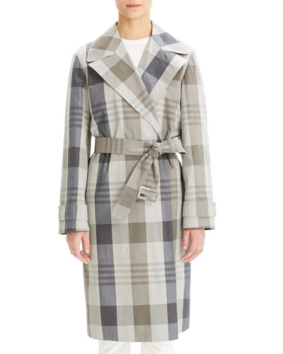 Military Check Trench Coat