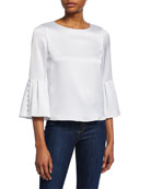Alice + Olivia Bernice Bell-Sleeve Top
