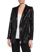 Joan Vass Plus Size Sequined Jacket