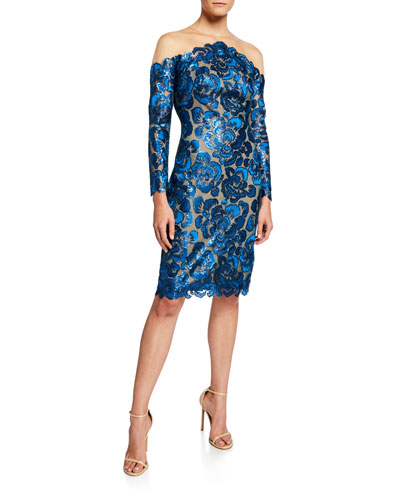 Sequin Lace Long-Sleeve Cocktail Dress with Illusion Neckline