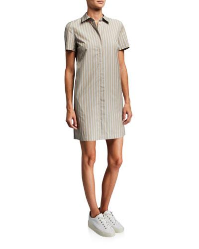 Ribbon Stripe Button-Down Short-Sleeve Shirtdress