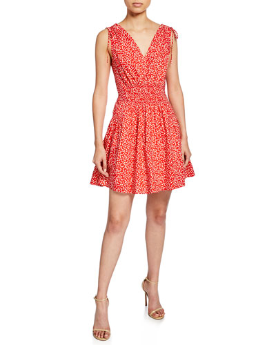 Malia Sleeveless Dot-Print Short Dress