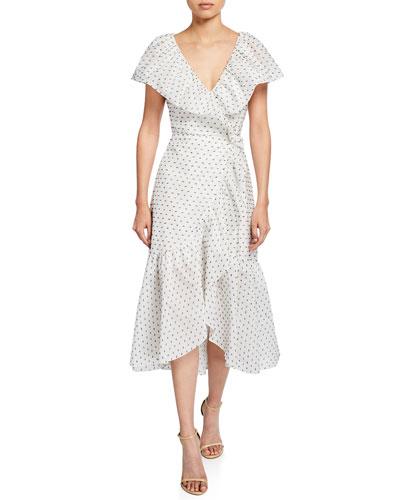 Birdseye Dot Clip Ruffle Midi Dress