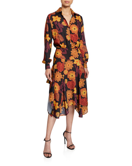 Dodo Bar Or Natasha Asymmetrical Floral-Print Shirt Dress