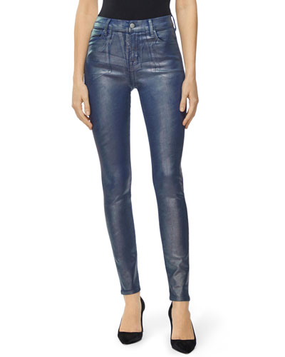 Maria Shimmer Coated High-Rise Skinny Jeans