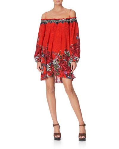 Off-Shoulder Printed Short Dress