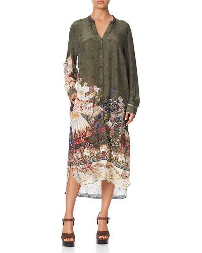 Printed Silk Midi-Length Shirt Dress