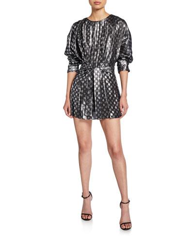 Mika Metallic Long-Sleeve Mini Dress