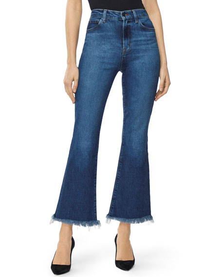 J Brand Julia High-Rise Flare Jeans with Shredded Hem