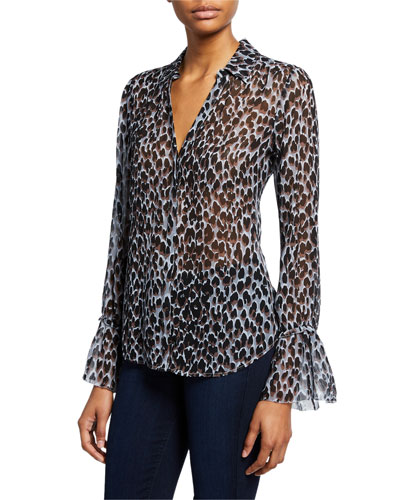 Abriana Leopard-Print Bell-Sleeve Blouse