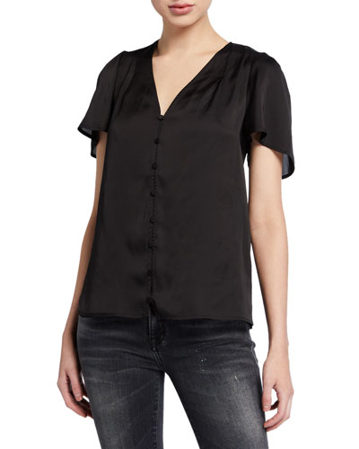 Kelly Button-Front Short-Sleeve Top