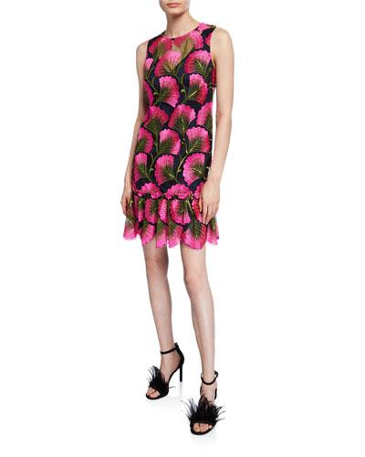 Barbra Fan Foliage Sleeveless Drop-Waist Flounce Dress