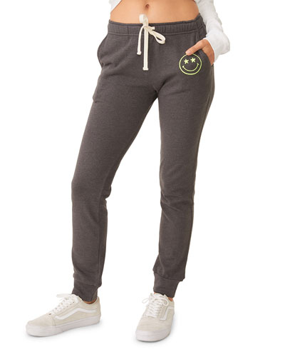 Girlfriend Drawstring Sweatpants with Embroidered Smiley Face