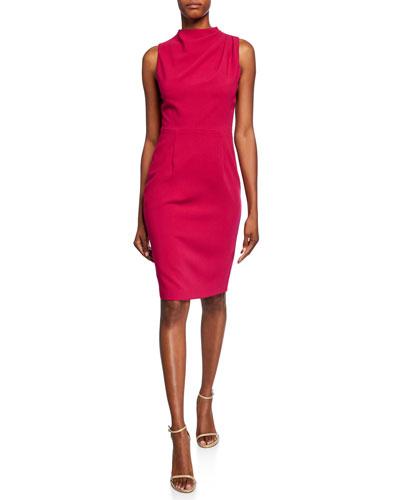Corrine High-Neck Sleeveless Sheath Dress