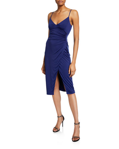 Bowery V-Neck Sleeveless Jersey Sheath Dress with Slit