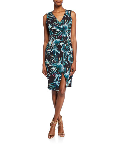 Nora Leaf-Print Faux-Wrap V-Neck Sleeveless Sheath Dress