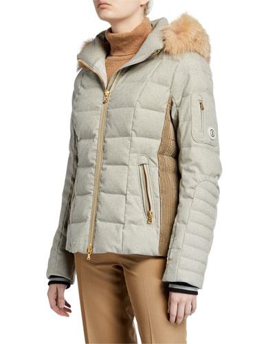 Uma Down-Filled Coat w/ Removable Hood & Fur Trim