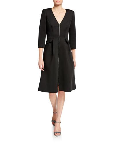 V-Neck Zip-Front 3/4-Sleeve Scuba Dress