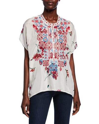 Idalina Printed Button-Front Short-Sleeve Embroidered Silk Top