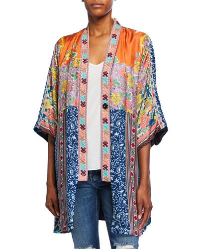 Petite Bianca Reversible Silk Twill Short Kimono