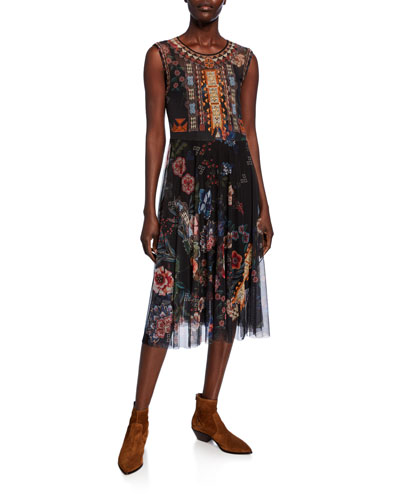 Caiko Sleeveless Printed Mesh Short Dress