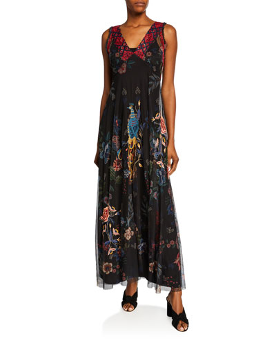 Genjy V-Neck Sleeveless Embroidered Mesh Maxi Dress