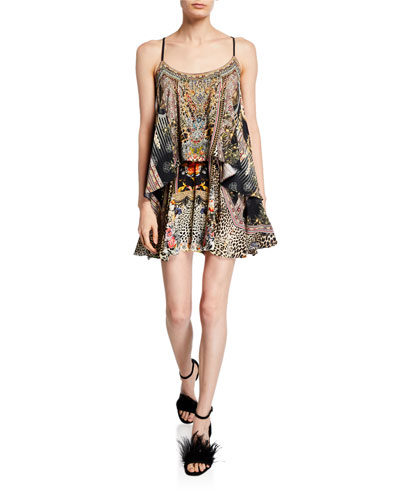 Printed Flared Romper with Overlay