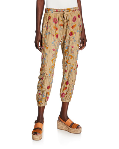 Tak Floral Embroidered Drawstring Cargo Pants