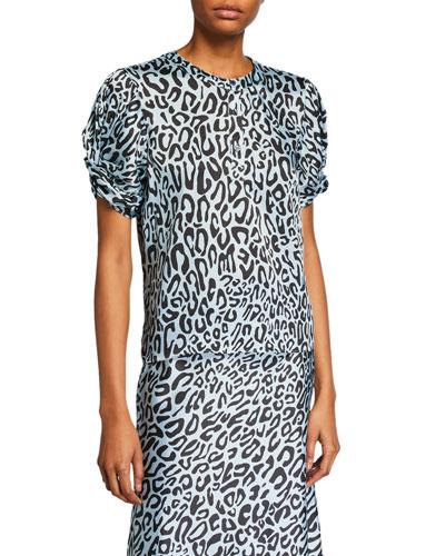Ally Animal-Print Short-Sleeve Top