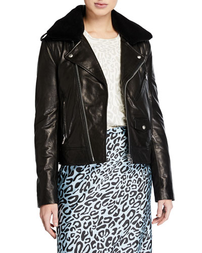 Andrea Leather Jacket with Faux Fur Trim