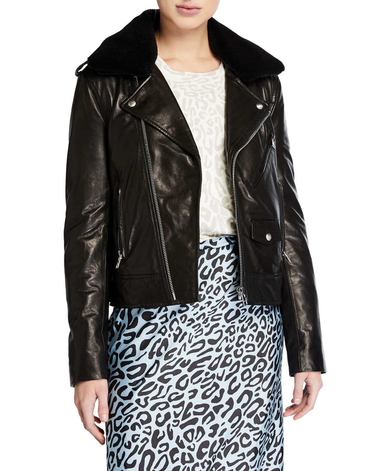 Rebecca Minkoff Jackets ANDREA LEATHER JACKET WITH FAUX FUR TRIM