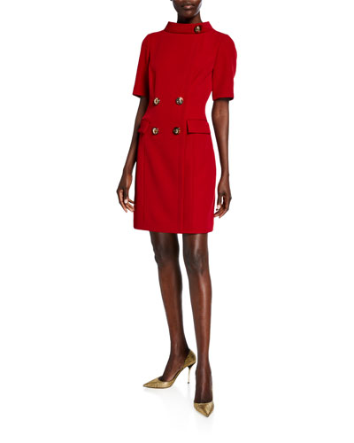 Ruby Four-Button Mock-Neck Short-Sleeve Sheath Dress