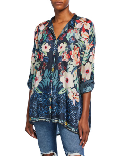 Plus Size Nelia Floral-Print Button-Front Long-Sleeve Silk Shirt