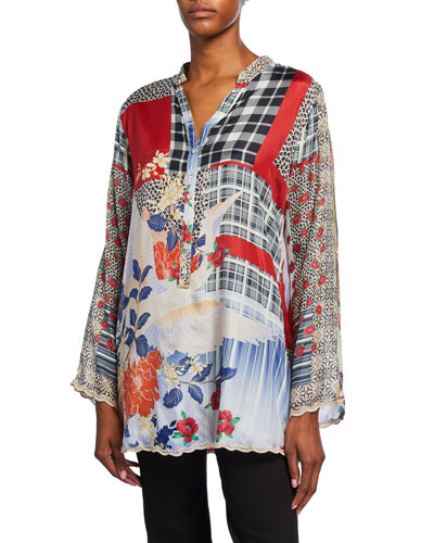 Ample Mixed Media Long-Sleeve Silk Tunic w/ Mandarin Collar