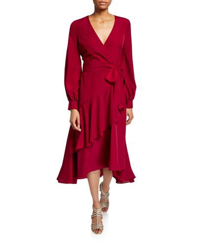 Blouson-Sleeve  Flounce Faux-Wrap Midi Dress