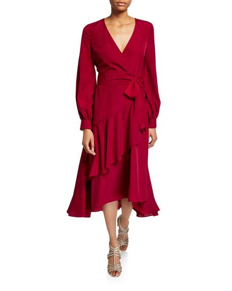 Badgley Mischka Collection Blouson-Sleeve  Flounce Faux-Wrap Midi Dress