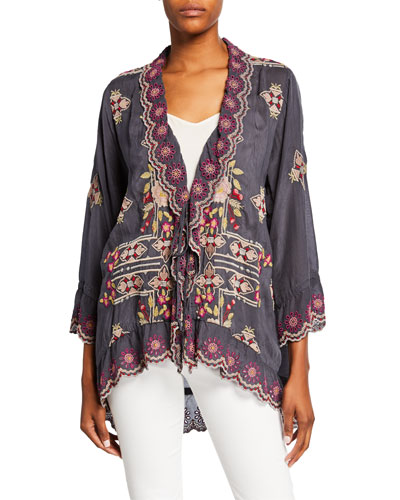 Petite Lena Embroidered Scallop-Edge Tie-Front Jacket