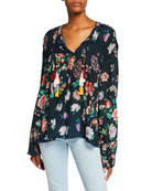 Johnny Was Harley Floral-Print Long-Sleeve Tassel-Tie Top