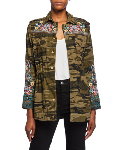 Molly Camo Baby Cord Embroidered Button-Front Jacket