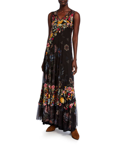 96b4110e6 Quick Look. Johnny Was · Rhio Floral Embroidered V-Neck Sleeveless Mesh Maxi  Dress