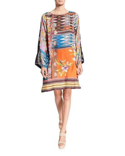 Luna Mixed-Print Flare-Sleeve Silk Dress
