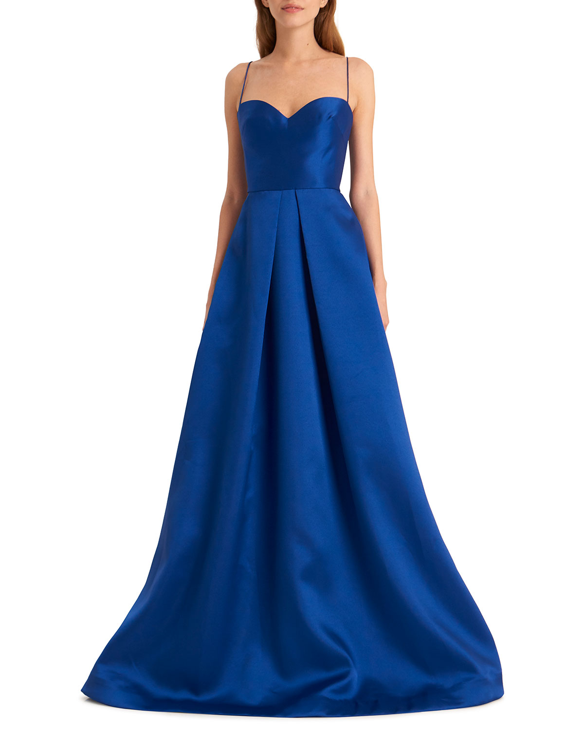 Sapphire Sweetheart Spaghetti-Strap Gown with Full Skirt