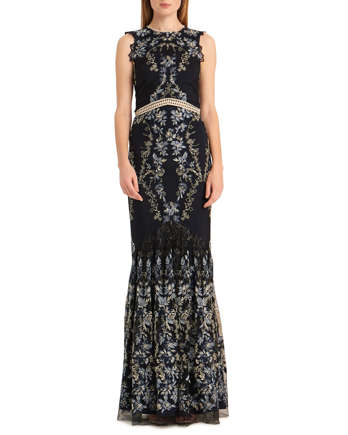 Open-Back Floral Embroidered Mesh Gown with Ruffled Bottom